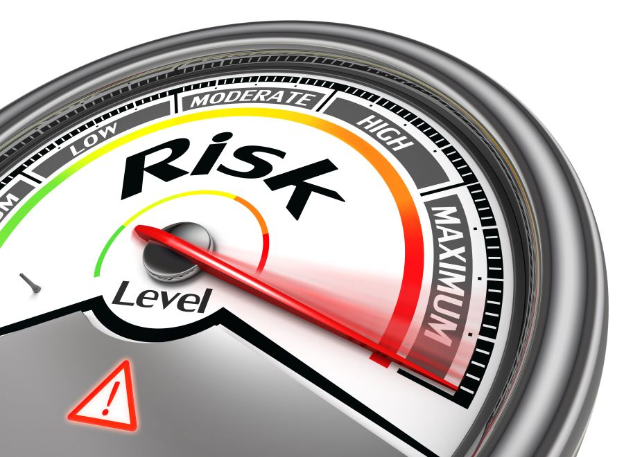 This meter shows that risks come in all levels of severity, from minimum to maximum